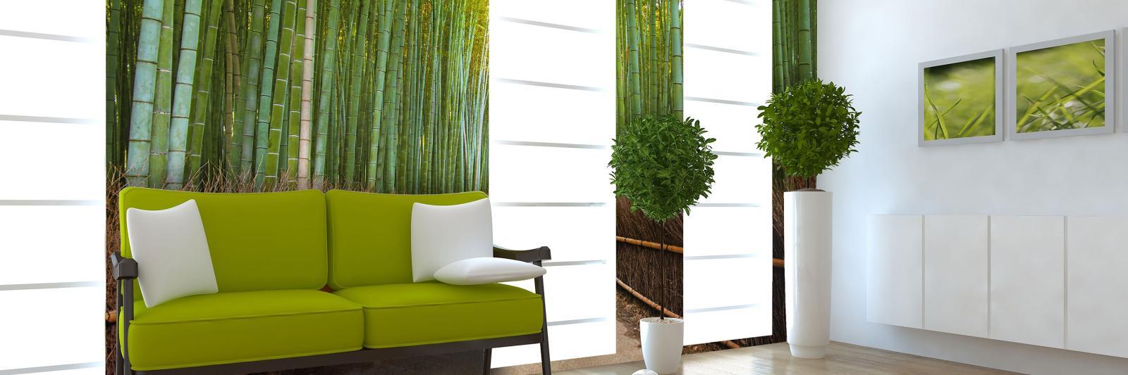 Digitaldrucktapeten Vlies, Glasgewebe, vorgekleistert. Weisser Wohnraum Fototapete mit grünem Bambus