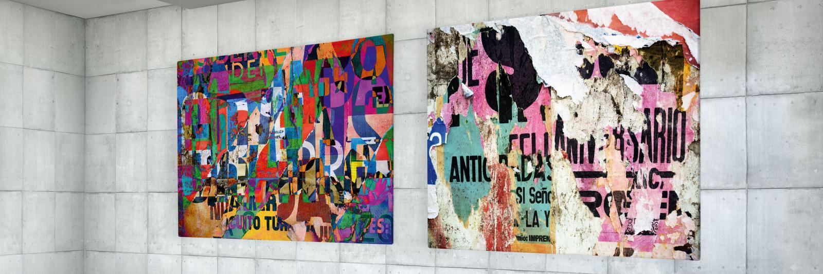 Druckmedien für Kunstdrucke - zwei bunte, abstrakte Kunstdrucke auf einer grauen gekachelten Wand