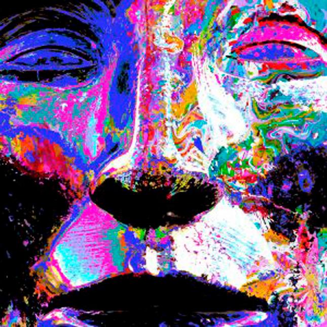 Canvas Kunstdruck, abstraktes Gemälde Gesicht blau
