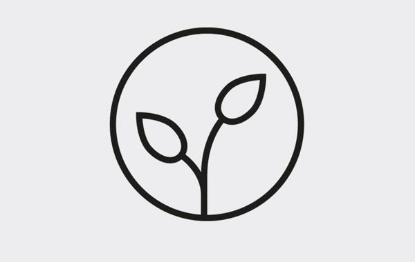Sortiment umweltfreundliche Druckmedien - schwarzer Kreis mit Grafik Pflanzspross