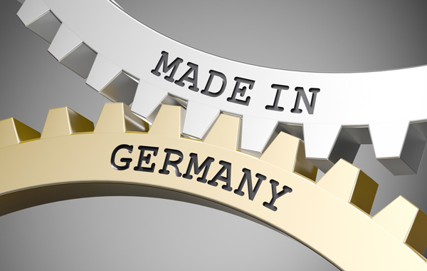 Umweltfreundliche Druckmedien - ineinandergreifende Zahnräder mit Schriftzug Made in Germany