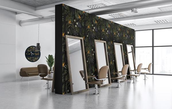 Polyestergewebe fuer Wandgestaltung - Wandscheibe mit Blumenmuster auf schwarzem Hintergrund in modernem Friseursalon