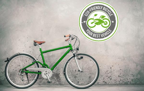 Druckmedien Aufkleber und Etiketten - gruenes Fahrrad vor grauer Betonwand