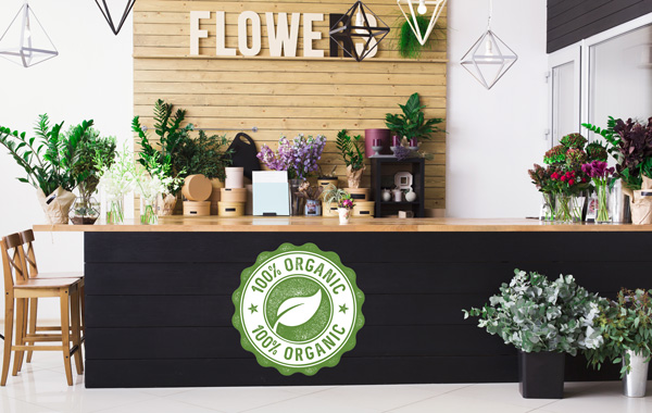 Umweltfreundliche Druckmedien - Verkaufstheke in Blumenladen