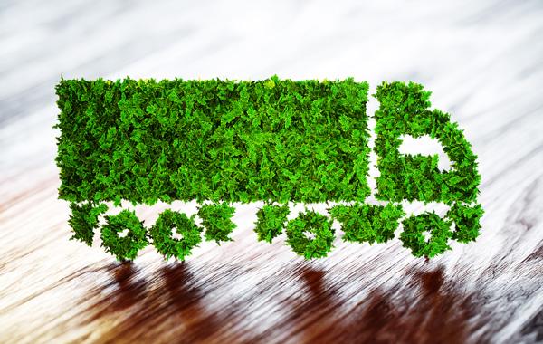Umweltfreundliche Druckmedien - Grafik LKW aus gruenem Gras auf dunkel gemasterter Holzflaeche